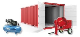 Shipping container storing contruction equipment